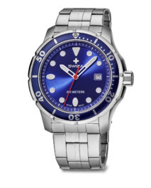 SWIZA Tetis watch, gent, blue with metal strap