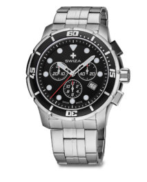 SWIZA watch, Tetis Chrono black with metal strap