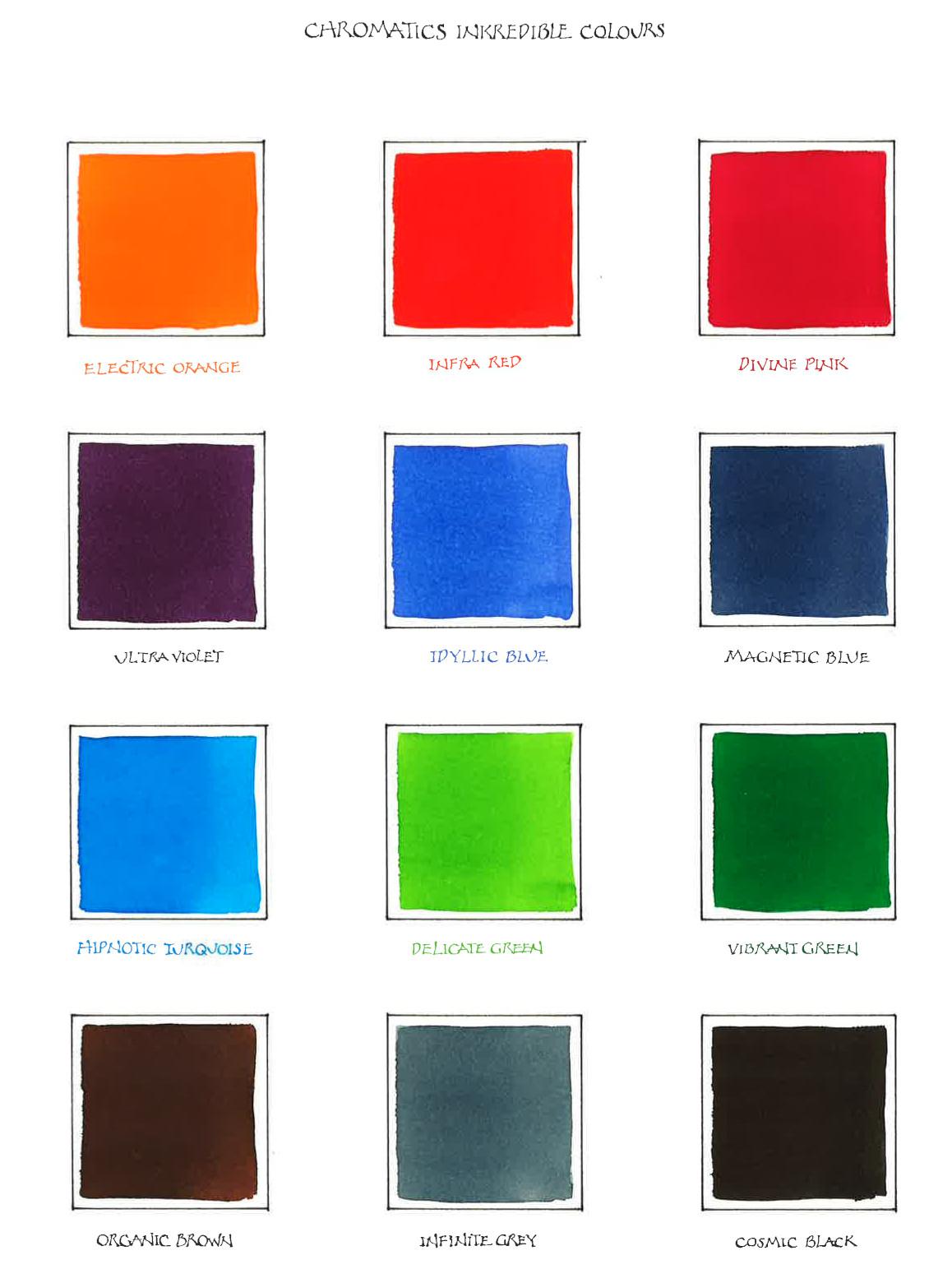 Caran D'Ache Chromatics Ink colour chart